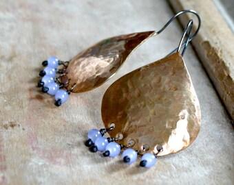 Hammered brass earrings, jade bead artisan earrings, bohemian gypsy jewelry - Silk Road