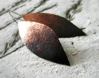 Hammered copper earrings ombre oxidized sterling silver large leaf shaped rustic modern autumn fashion - Ombre Leaf
