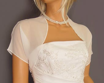 Chiffon bolero jacket bridal shrug short sleeve wedding wrap cover up CBA200 AVAILABLE IN white and 6 other colors. Small - Plus size!