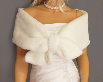 Faux Fur wrap stole pull thru shrug In Beaver bridal shawl wedding capelet bridesmaid cover up FW300 AVL in white and 4 other colors
