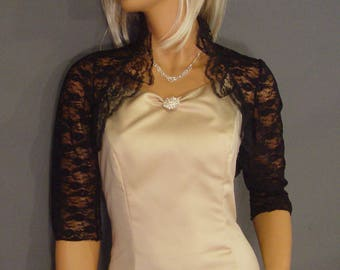 Lace bolero jacket wedding bridal shrug 3/4 sleeve with ruffle lace collar LBA305 AVAILABLE IN black and 2 COLORS small through plus size!