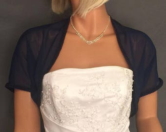 Chiffon bridal bolero jacket shrug short sleeve trimmed prom evening shrug cover up CBA203 AVAILABLE IN navy blue and 4 other colors.