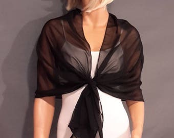 Chiffon pull thru wrap wedding shawl scarf sheer cover up long evening shrug prom stole bridal toper CW201 AVL in black and 6 other colors