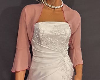 d2793d8789e Chiffon bolero jacket 3 4 bell sleeve shrug prom wrap bridal sheer cover up  CBA216 AVL IN rose pink and 6 other colors. Small - Plus size!