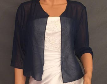fa1d6cd64614f Chiffon bolero shrug with 3/4 sleeves hip length jacket wedding coat cover  up sheer bridal wrap CBA214 AVL in navy blue and 11 other colors