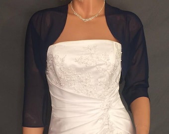 Chiffon bolero jacket 3/4 sleeve shrug wedding wrap bridal cover up CBA201 AVAILABLE IN navy blue and 6 other colors. Small - Plus size!