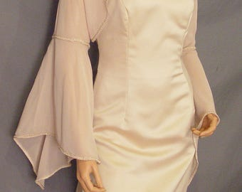 Chiffon bolero jacket bridal shrug long pointed bell sleeve  trim  renaissance medieval wedding CBA212 AVL IN champagne and 4 other colors ffdb63ab4