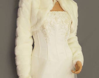 Faux fur bolero jacket in Mink with long sleeves and collar bridal coat e1e08045aa02