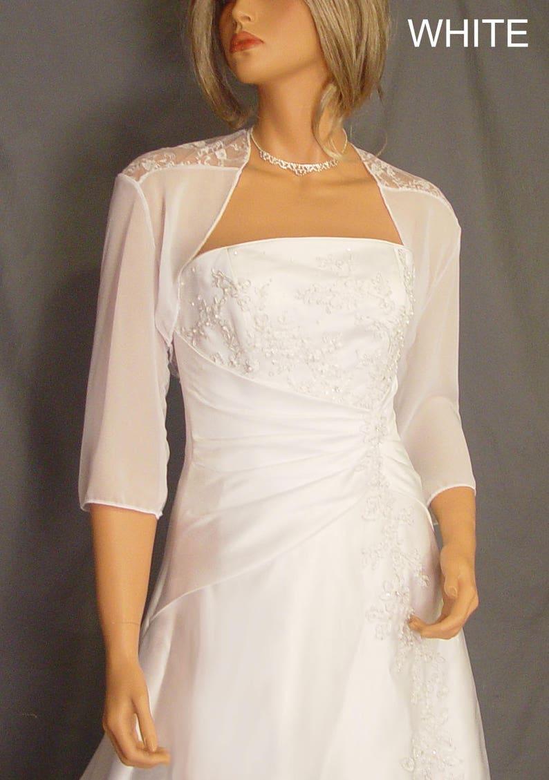 4a33c62236681 Chiffon and lace bolero jacket 3/4 sleeve shrug wedding wrap   Etsy
