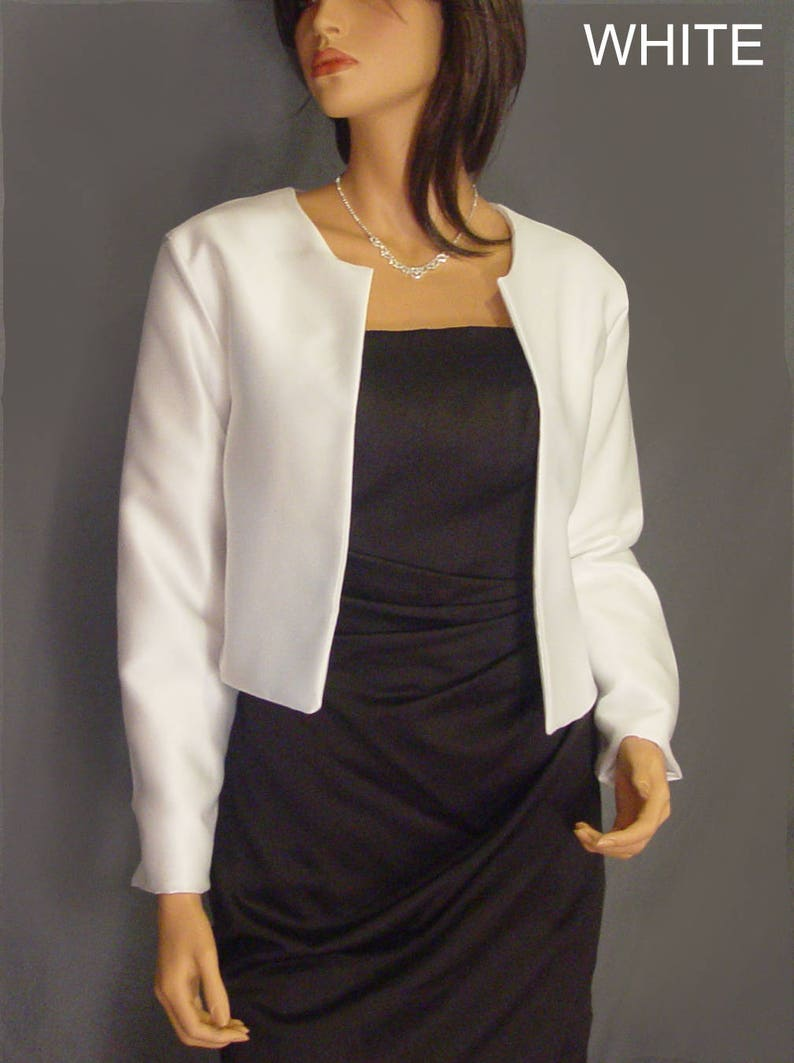 f17495eedb Satin bolero jacket with long sleeve hip length wedding shrug coat cover up  SBA130 AVAILABLE in white and 5 other colors. small - plus size