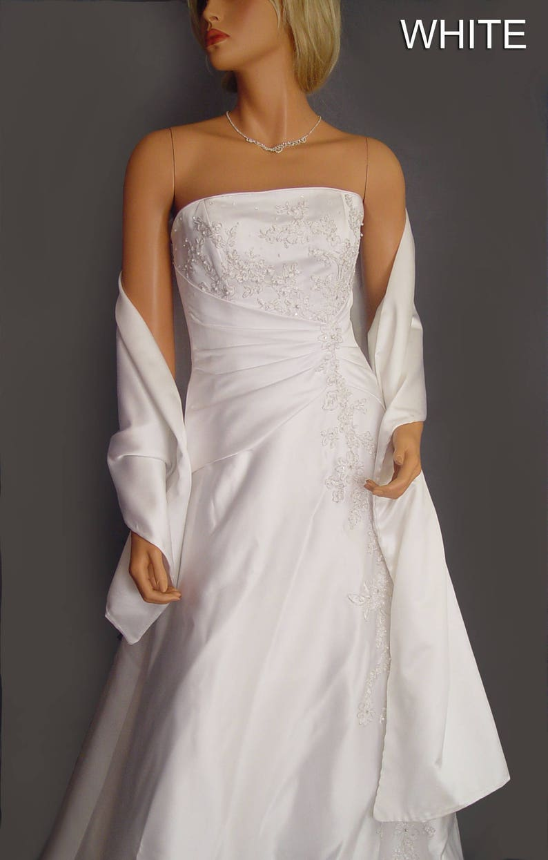 Satin wrap wedding shawl scarf bridal sash bridesmaid cover up shrug stole prom evening long wrap SW100 AVL IN ivory and 18 other colors