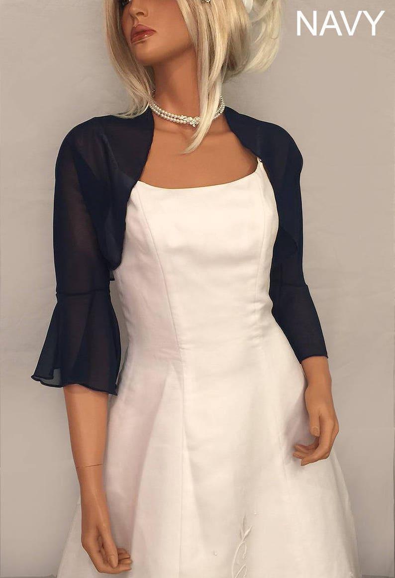 f9f3924cab2 Chiffon bolero jacket 3 4 bell sleeve shrug wedding wrap