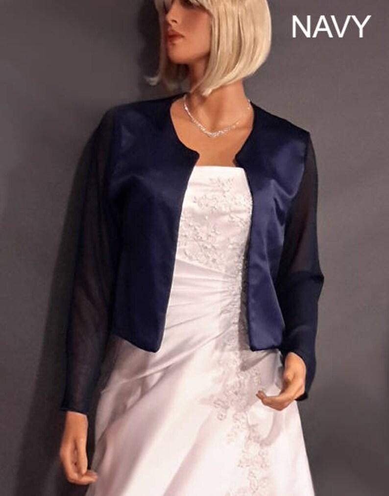 2cf33baaaa Satin bolero jacket with long chiffon sleeve hip length evening shrug coat  wrap cover up SBA132 AVAILABLE in navy blue and 5 other colors