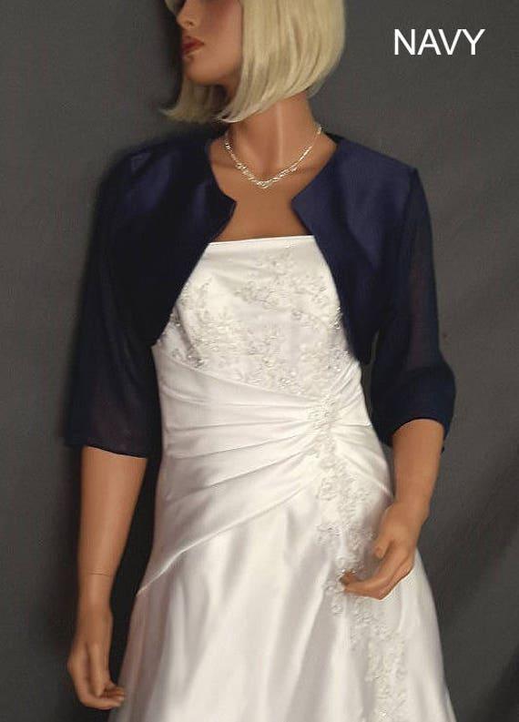 XXL Satin bolero jacket with 34 chiffon sleeves bridal shrug wedding coat cover up SBA116 AVL in navy blue and 5 other colors Small