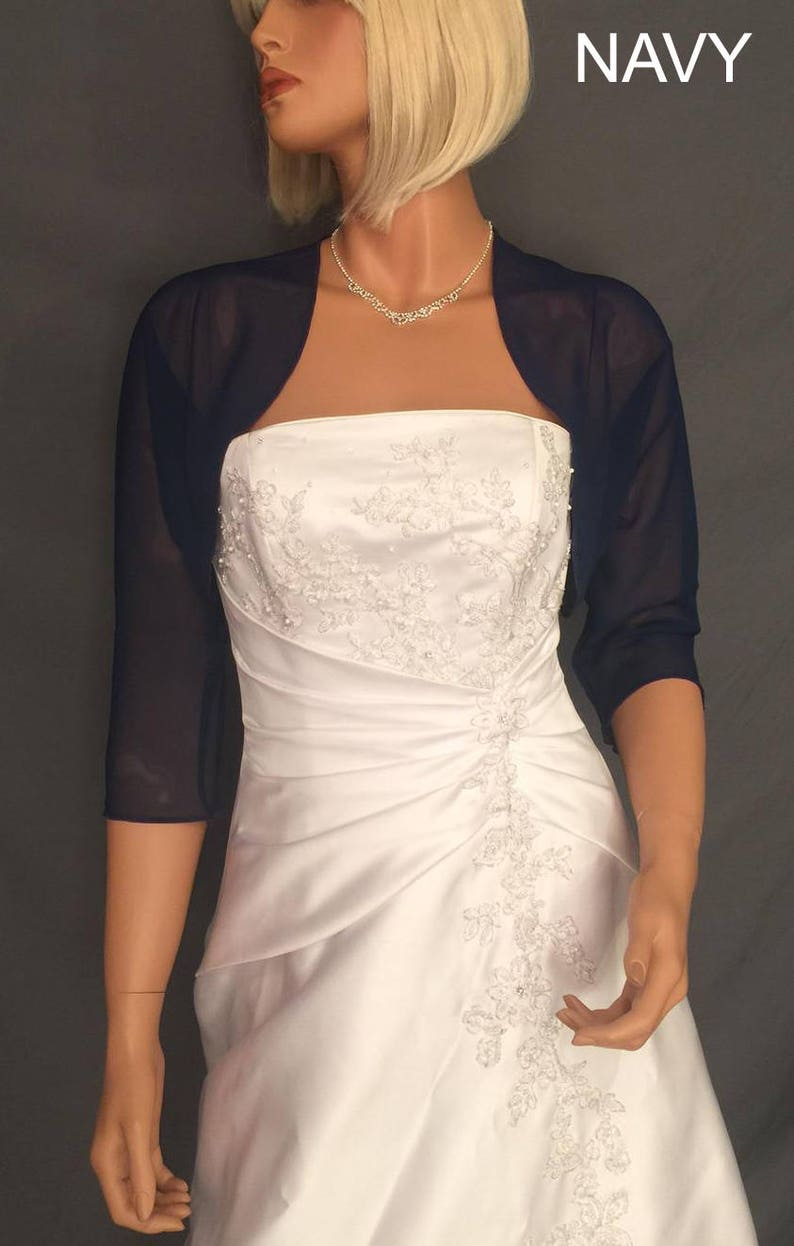 Chiffon bolero jacket 3/4 sleeve shrug wedding wrap bridal image 0