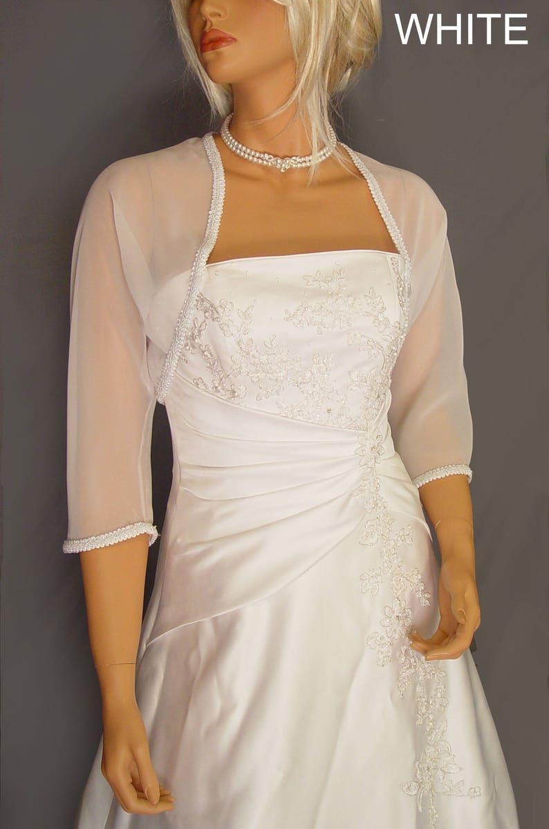 59957d28db68f Chiffon bolero jacket 3/4 sleeve trimmed shrug wedding wrap   Etsy