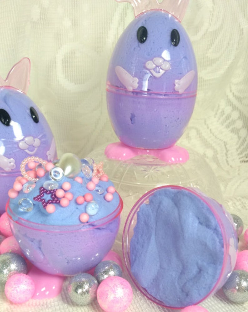 Easter basket gifts rabbit eggs in blueberry muffin scent 6 Easter theme slime party favors icee cloud chick eggs in bubblegum scent