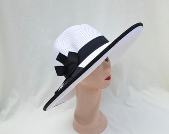 5919a5802a041 Large Brim White Sun Hat Extra Large Head Sizes Available  Black Ribbon Trim    Packable   Crushable Sun Hat   Great UV Protection   Med-XLG