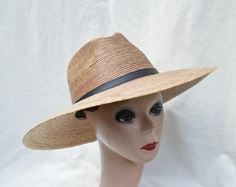e299c753 Dark Palm Straw Large Brim Sun Hat / Women's Medium Through XXL Head Sizes  Available / Woven Palm Straw Fedora Sun Hat