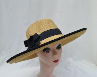 5138b9fa09fcc Large 5 Inch Brim Tan Sun Hat  Extra Large Head Sizes Available   Black  Ribbon Trim   Packable Flat Brim Sun Hat   Great UV Protection