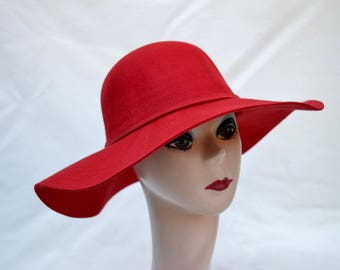 Red Wool Felt Large Brim Floppy Brim Hat   Womens Red Boho Floppy Wide Brim  Winter Hat   Boho Wide Brim Red Felt Hat   Red Felt Holiday Hat 1c2fd833a818