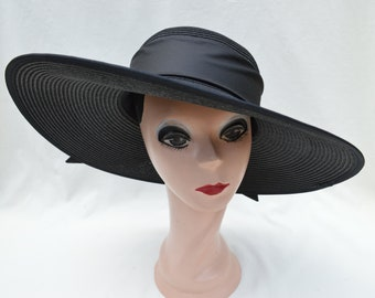 18df4d72a2d Black Large Flat Brim Sun Hat With Ribbon Trim   Womens Vintage Inspired  Large Brim Hat With Ribbon Band   Garden Party Hat   Derby Hat
