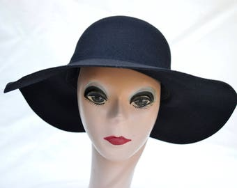 8de0ce9f32a Wide Brim Wool Felt Black Floppy Brim Hat   Womens Large Brim Floppy Winter  Hat   Boho Wide Brim Wool Felt Hat