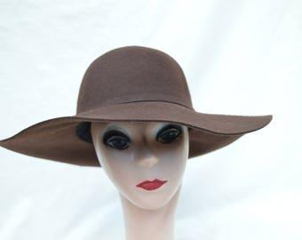 Dark Brown Wide Brim Felt Hat   Brown Large Brim Wool Felt Floppy Hat    Womens Wide Brim Winter Hat   Boho Wide Brim Brown Hat 15f236dc7583