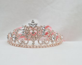579d86cb11d5 Rose Gold Rhinestone Tiara With Ribbons   Adult Or Girls Rose Gold Tiara    Rose Gold Tiara   Wedding Tiara