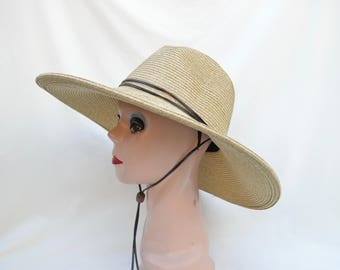 e75c9ea3db7 Women s Large Brim Tan Fedora Style Sun Hat With Chin Cord  Women s Large  And Extra Large Head Sizes Available   Crushable Packable Sun Hat