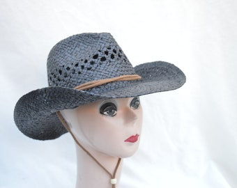 Black Straw Cowboy Hat   Cowboy Hat   Cowgirl Hat   Black Straw Cowboy Hat  With Chin Tie   Larger Head Size Available ca9bb641a96