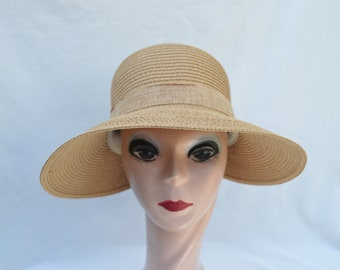 069eee5ce59 Lampshade Split Brim Tan Sun Hat With Bow   Tan Vintage Inspired Packable  And Crushable Hat   Deco Inspired Sun Hat