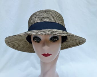 108d57d6e39 Large 6 Inch Flat Brim White Sun Hat With Black Ribbon Trim / | Etsy