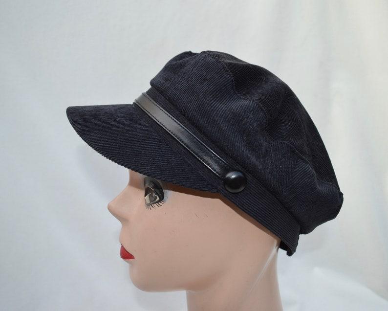 81be6343882 Black Corduroy Fishermans Sailor Cap   Retro Inspired Cap