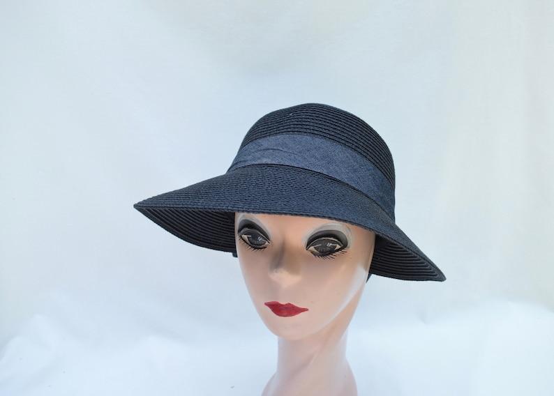 a7b45275a35ac Lampshade Split Brim Black Sun Hat With Bow   Black sunhat