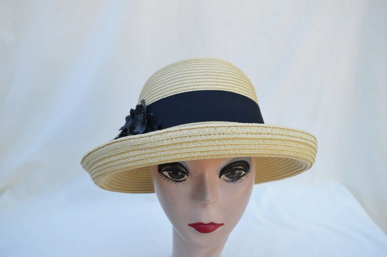 d4f2060927583 Tan Straw Hat With Black Flower Trim   Vintage Inspired Hat