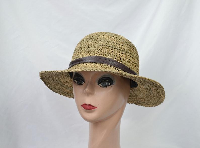 Natural Seagrass Straw Medium 2.5 Inch Flat Brim  Hat  Retro Inspired Seagrass Straw Boater Hat  Seagrass Packable Sun Hat