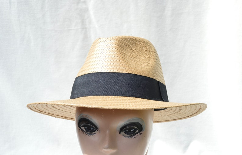 e7b82a9d1ab Tan Fedora Straw Sun Hat / Larger Head Sizes Available Straw | Etsy