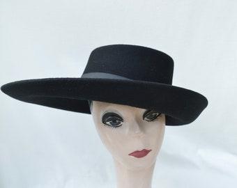 Black Large Brim Wool Felt Hat /Black Felt Side Rolled Brim Telescope Hat / Millinery / Felt Telescope Brim Hat