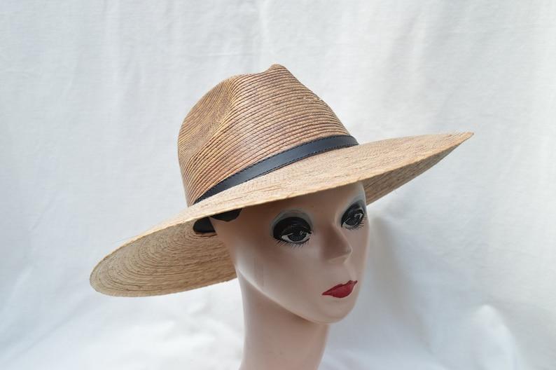 d26875440 Dark Palm Straw Large Brim Sun Hat / Medium Through XXL Head Sizes  Available / Woven Palm Straw Fedora Sun Hat
