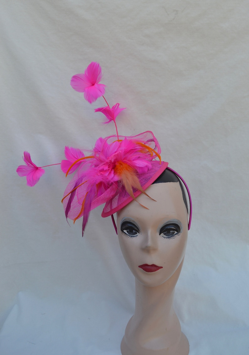 Fuchsia Orange Feather Fascinator   Nylon Fascinator With  a7a70f0688b