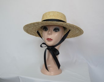 4 Inch Natural Straw Boater Hat With Black Ribbon Band And Tie /  18 Ribbon Colors Available / Natural Wheat Straw Boater Hat