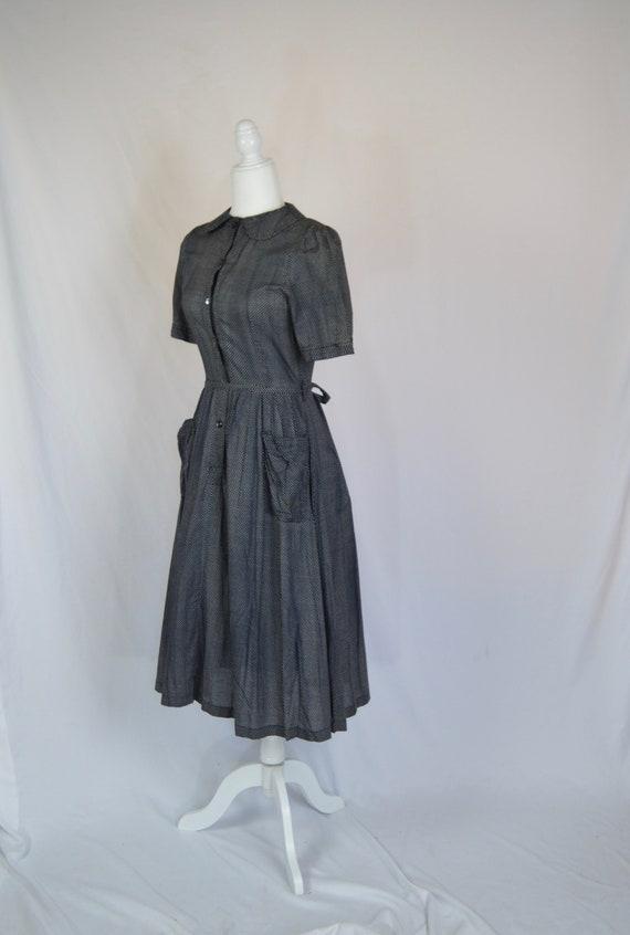 Vintage 1970s Laura Ashley Cotton Black Print Dres