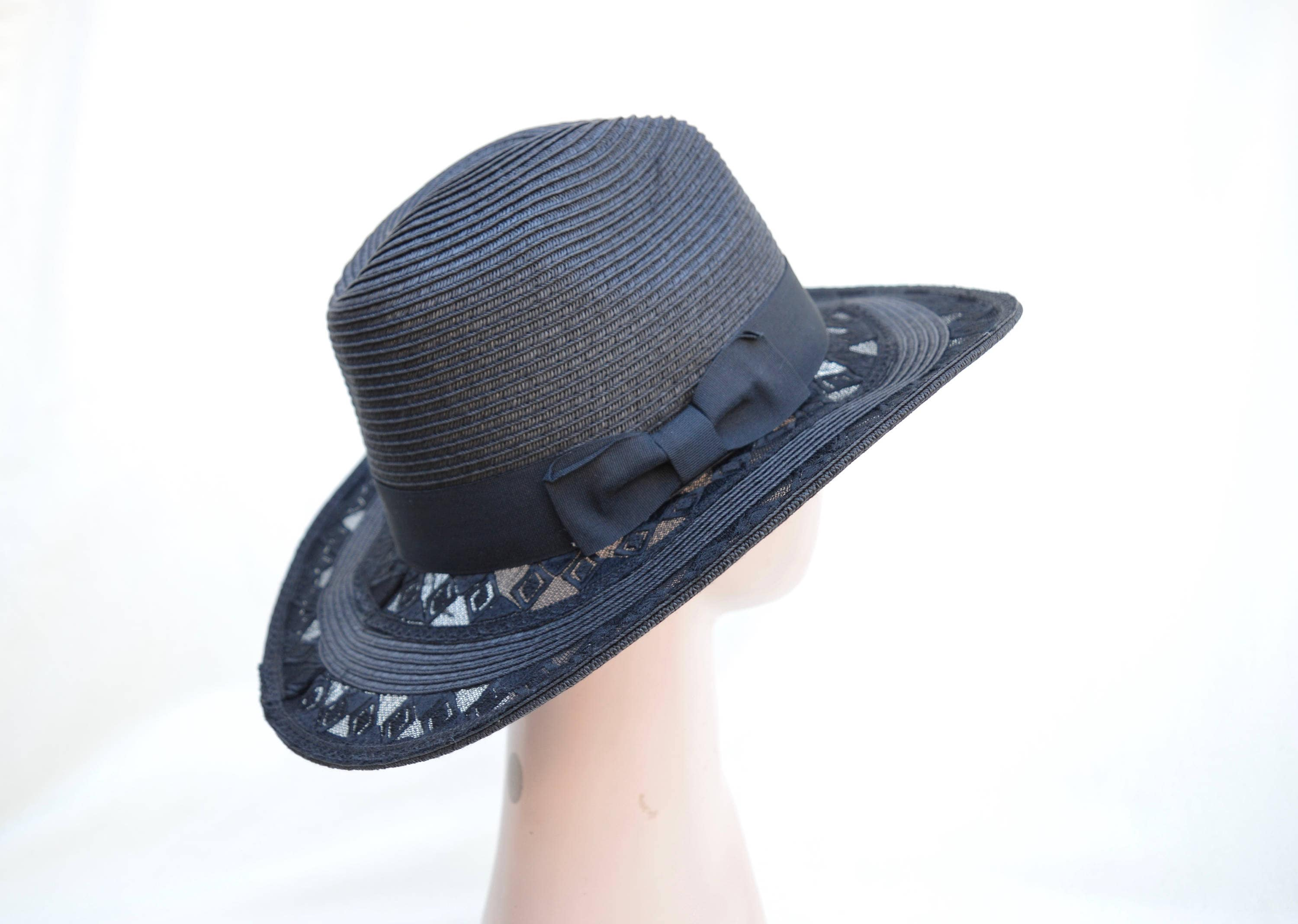 dc5f836562ef50 Black Straw Fedora With Lace Brim / Packable And Crushable | Etsy
