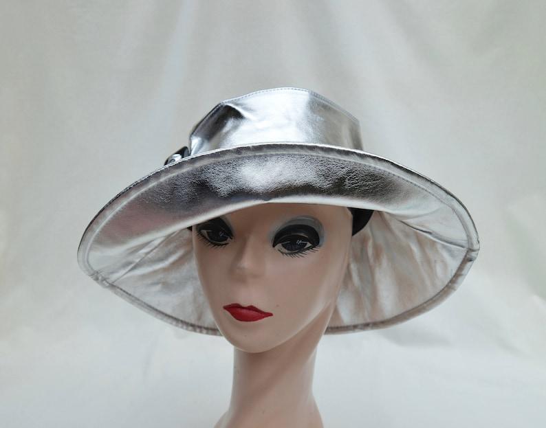 Women s Silver Metalic Nylon Waterproof Rain Hat   Metalic  494846d5d03