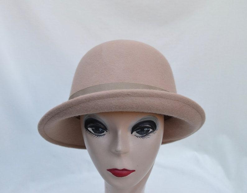 91e99f0628b Tan Felt Cloche Hat   Womens Tan Wool Felt Small Brim Winter