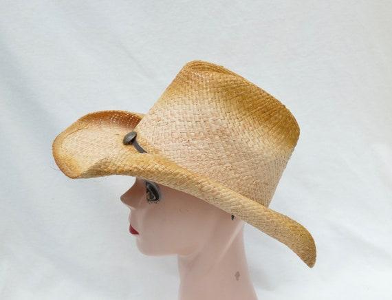 Raffia Straw Cowgirl Hat   Antiqued Cowboy Hat   Cowgirl Hat  9fd58abee4c2