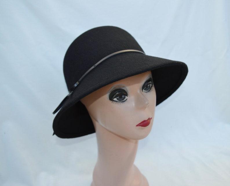 bfd6932fa549a Black Wool Felt Cloche Hat   Wool Felt Bucket Hat   Downton