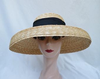 Natural Straw Large Bell Brim Lampshade Hat / Retro Lampshade Milan Braid Natural Wheat Straw Hat / Derby Hat / Audrey Hepburn Hat