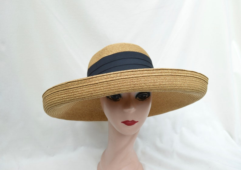 d32e9c50f0928 Large Brim Tan Straw Sun Hat With Kettle Brim   Womens Sun Hat